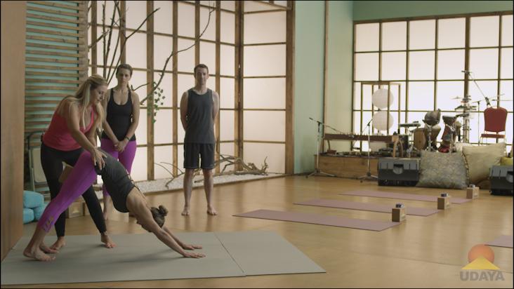Yoga Props in Downward Dog