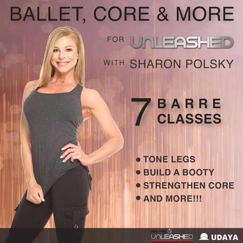 Sharon Polsky teaches Barre Classes in her program ballet, Core & More on UDAYA Yoga and Fitness