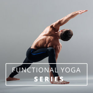 Shirtless man in extended side angle pose